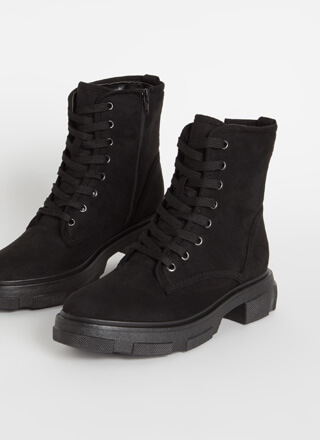 Combat Mode Faux Suede Lace-Up Boots