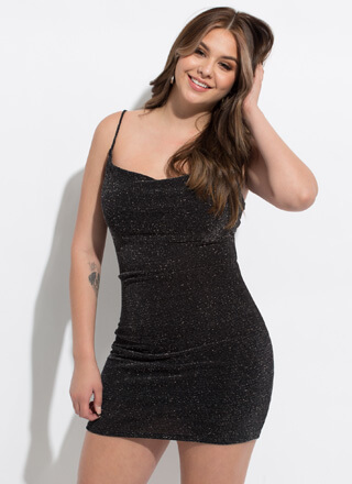 Sparkle Tonight Cowl Neck Minidress