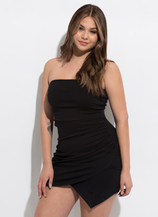 The Queen Of Wrap Strapless Minidress