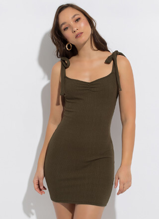 Sweetie Ribbed Tied Strap Minidress