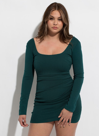 Wrapped Present Square-Neck Minidress