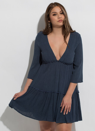 Boho Flare Plunging Tiered Minidress