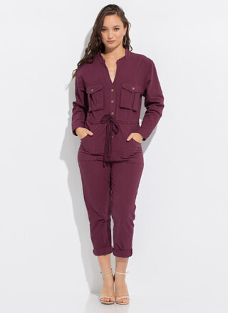 Vacation Ready Drawstring Cargo Jumpsuit
