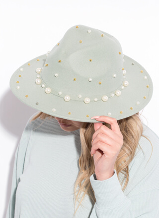 I Embellish Beaded Faux Pearl Fedora