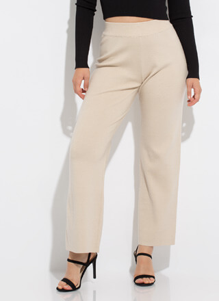 Boss Lady Wide-Leg Knit Slacks