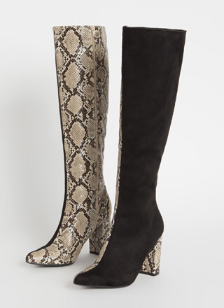 Better Half Faux Snake Colorblock Boots