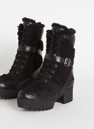 Prey Faux Crocodile Shearling Boots