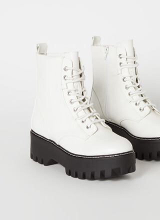 Go Hard Faux Leather Combat Boots