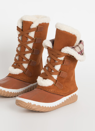 Hygge Plaid And Shearling Lace-Up Boots