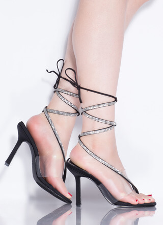 Thong Song Clear Jeweled Lace-Up Heels