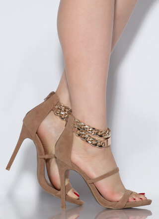 Price Tag Strappy Chained Heels
