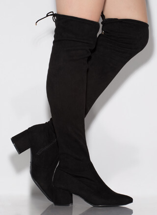 Still Tied Faux Suede Thigh-High Boots