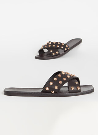 Vegas Bound Studded Slide Sandals