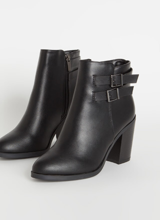 Strapped For Chunky Faux Leather Booties