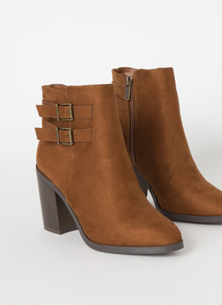 Strapped For Chunky Faux Suede Booties