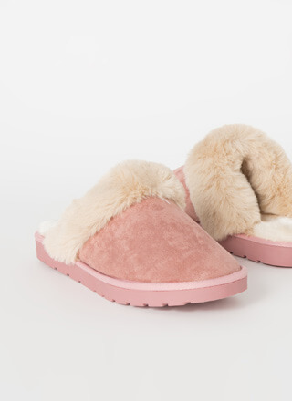 Snuggle Up Fur-Cuffed Slipper Flats
