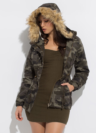 Out Cold Hooded Fur-Trimmed Camo Jacket