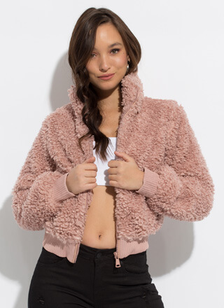 Fluff Off Faux Shearling Bomber Jacket
