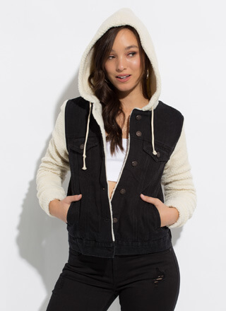 Shearling Chic Hooded Denim Jacket