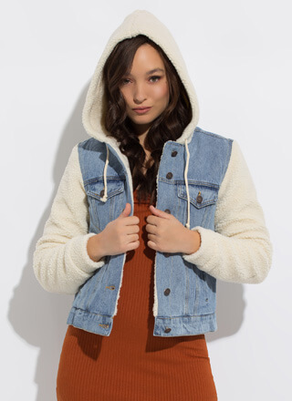 Shearling Chic Hooded Jean Jacket
