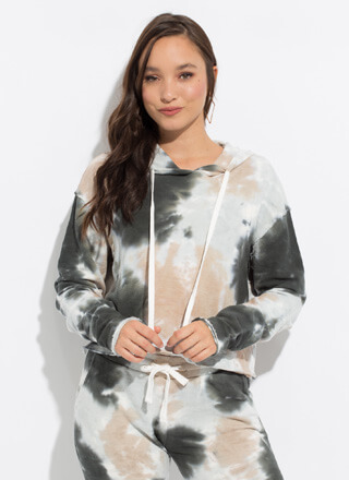 Top Splotch Tie-Dye Hooded Sweatshirt