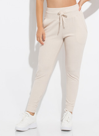 Getting Comfortable Rib Knit Joggers