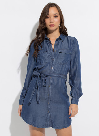 Girls Like Us Tied Chambray Shirt Dress