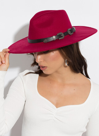 Out West Belted Wide-Brim Fedora