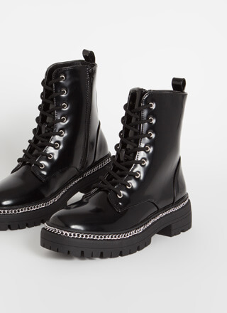 Got Chain-ge Faux Leather Combat Boots