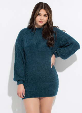 Fuzz Worthy Balloon Sleeve Sweater Dress