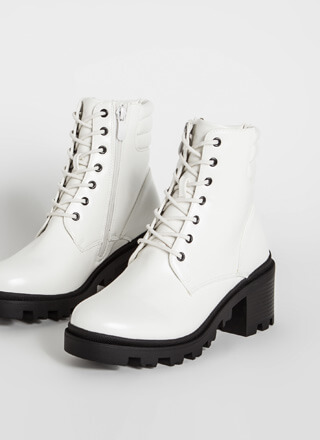 Moto Touch Block Heel Combat Booties
