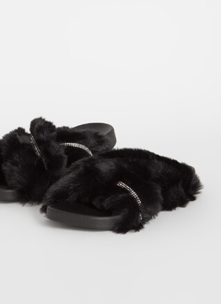 So X-Tra Jeweled Faux Fur Slide Sandals