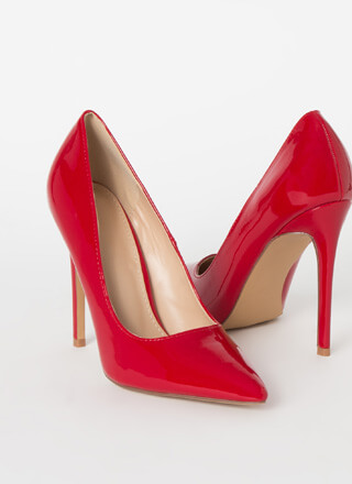 Power Heels Pointy Faux Patent Pumps
