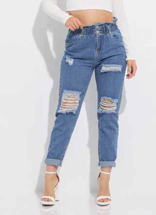 My Style Distressed Paper-Bag Jeans