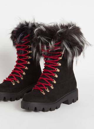 Love Shag Furry Faux Suede Laced Boots