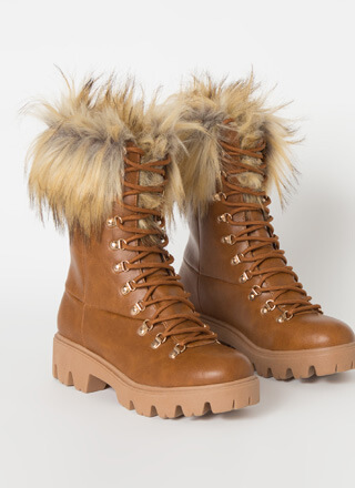 Love Shag Furry Faux Leather Laced Boots