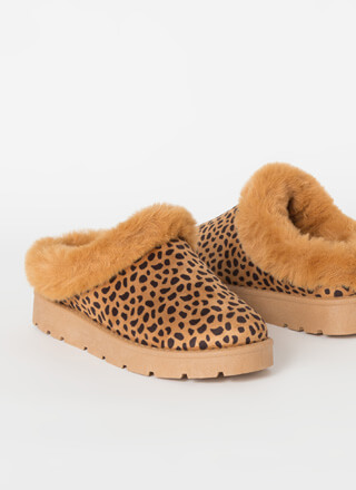 Cute And Cozy Fur-Trimmed Slipper Flats