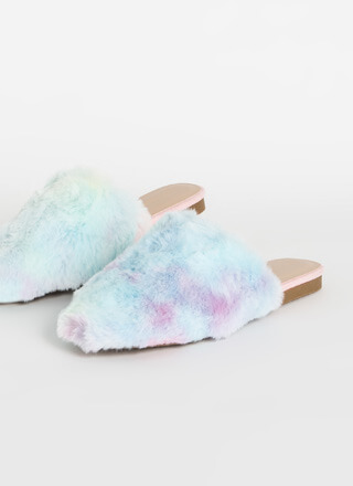 Slip Out Faux Fur Ombre Mule Flats