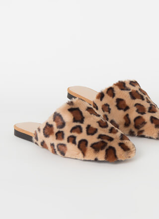 Slip Out Faux Fur Leopard Mule Flats