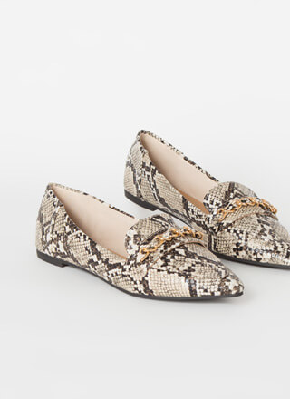 Linked Faux Snake Chain Strap Loafers