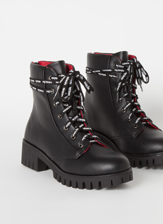 Text Me Laced Lug Sole Combat Boots
