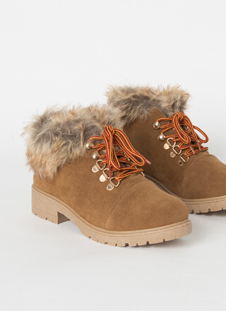 Take A Hike Furry Faux Suede Booties