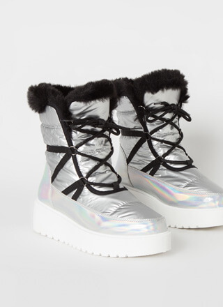 Space Out Laced Fur Trim Platform Boots