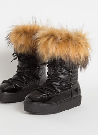 Moon Walk Shaggy Furry Lace-Up Boots