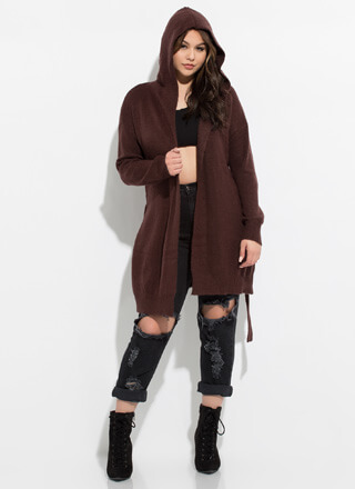 Always Cold Tied Hooded Knit Cardigan