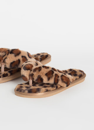 Just Fluff Furry Leopard Thong Sandals