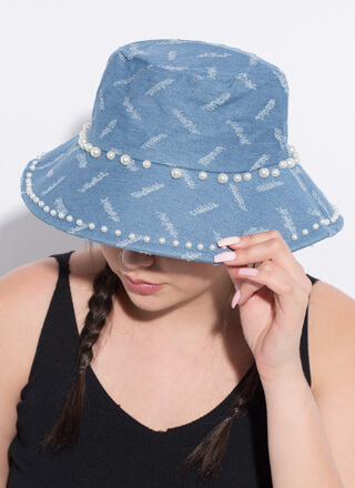 Pearly Girl Distressed Denim Bucket Hat