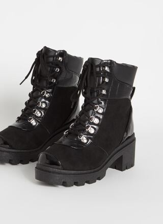 Crocodile In Combat Lug Sole Booties