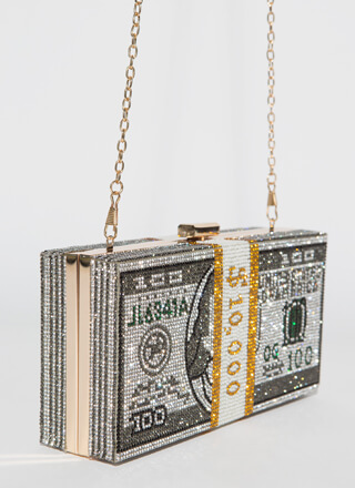 Ten Grand Rhinestone Money Box Clutch