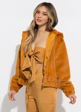Plush Life Hooded Faux Fur Jacket